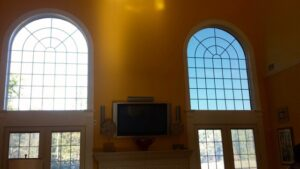 Before and after of the 3M Night Vision window film installed in a home in Allentown PA.