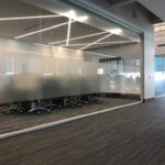 Fasara Decorative Window Films installed at an office building in Allentown PA by Sun Control Plus