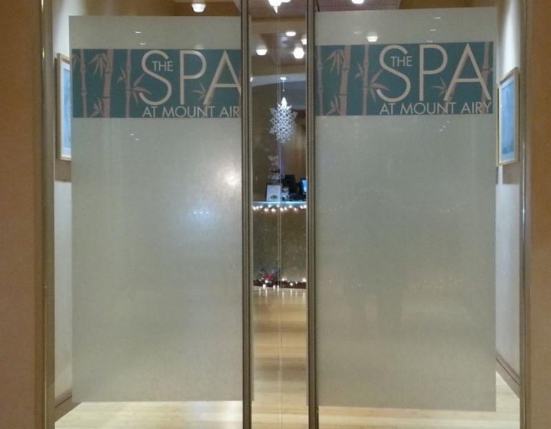 Fasara Decorative Window Films installed at The Spa at Mount Airy by Sun Control Plus